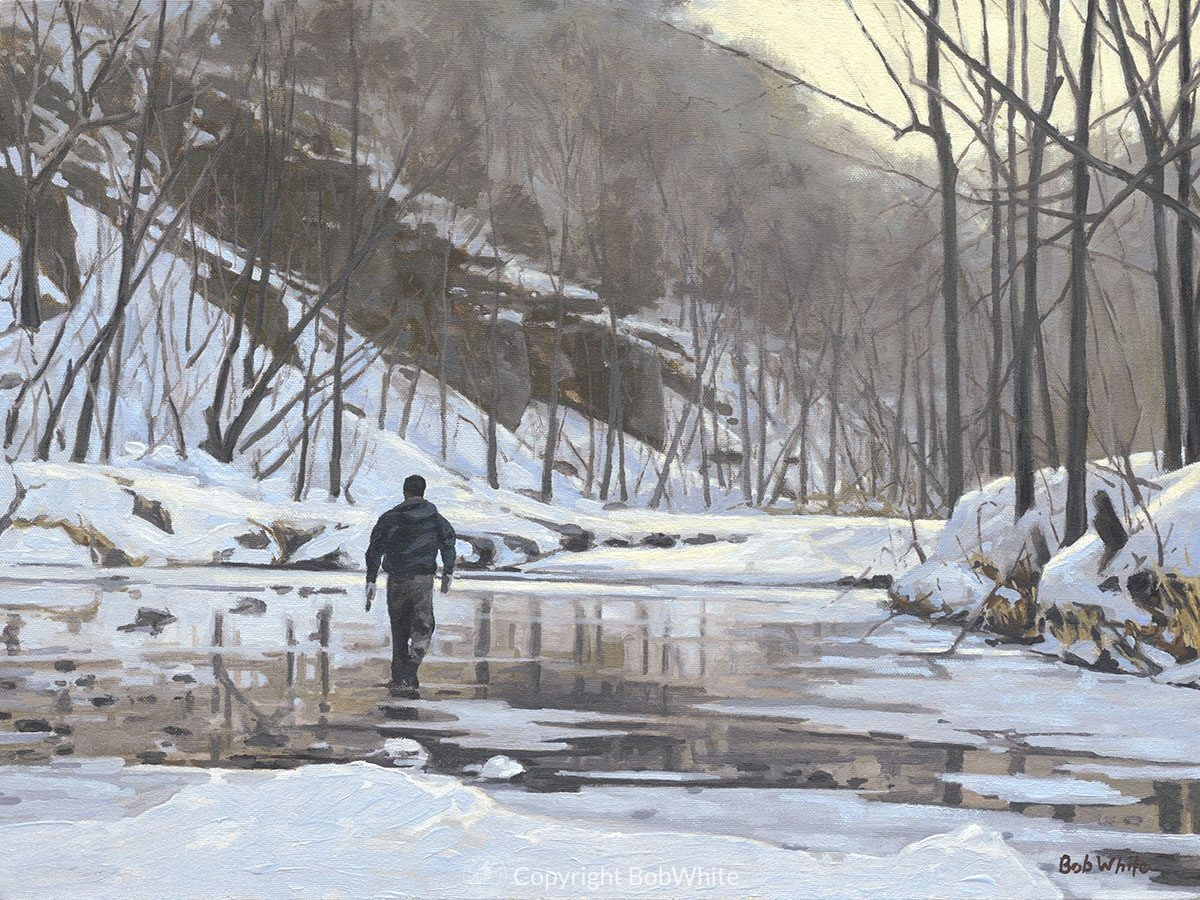 Winter Fly Fisherman Holiday Cards