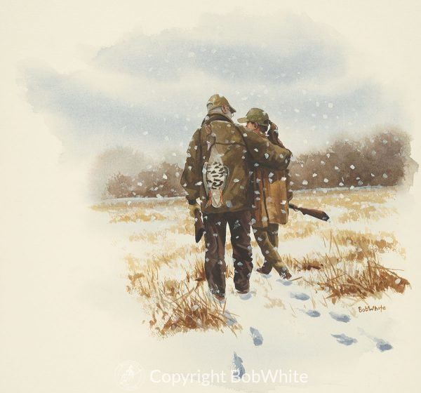 A Winters Tale Bob and Tommy Watercolor Painting