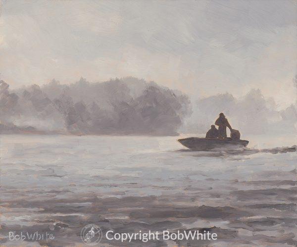 Fifty Shades of Fog Alaska Fishing Painting
