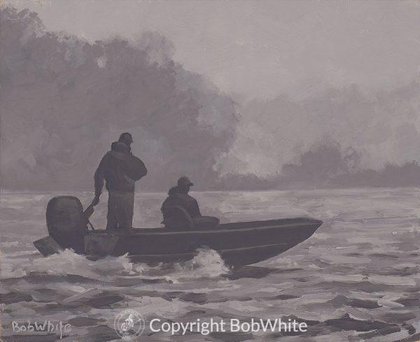 Fifty Shades of Gray Alaska Fishing Painting
