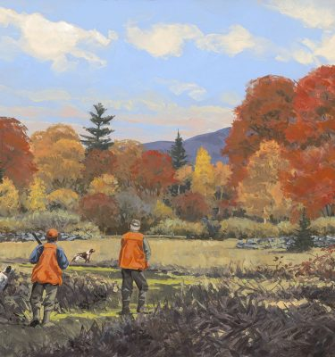 Upland Hunting Oil Painting Into the Day