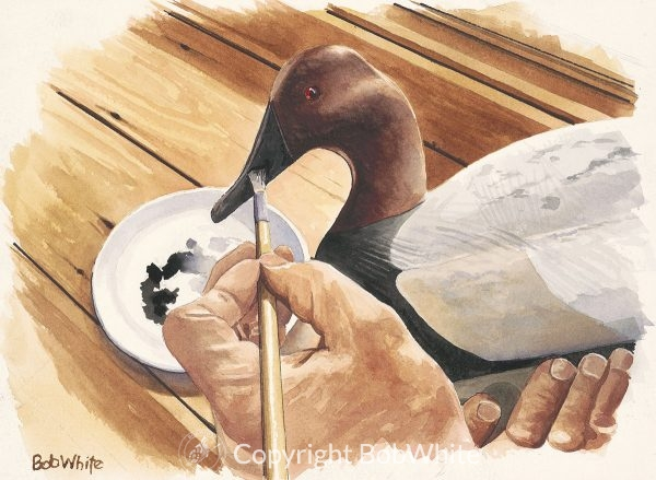 Midwinter Touchup Duck Decoy Painting